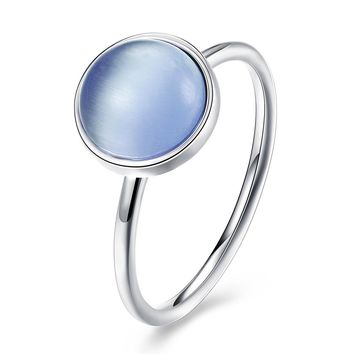 Sterling Silver Pandora Inspired Opal Blue Ring