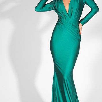 Emerald Elegance Green Long Sleeve Ruched Plunge V Neck Mermaid Maxi Dress