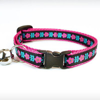 """Cat Collar - """"Angel of the Morning"""" - Floral Motif w/ Black on Raspberry Pink"""