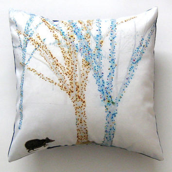 Hedgehog Trees White Teal Turquoise Blue Gold Yellow Winter Pillow Cover 16 inch, Decorative Throw Pillow Cover, Cushion Cover, Pillow Sham