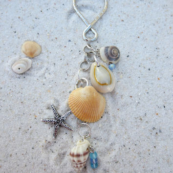 Beachy Sea Shell Key Chain Charms Starfish Sea Horse Conch Shell Shells Sea Glass Summer Fun Womens Girls