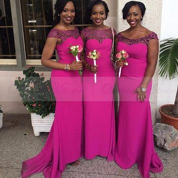 2017 New South African Mermaid Bridesmaid Dresses Cap Sleeves Satin Formal Party Dresses for Wedding Fuchsia Maid of Honor Dress