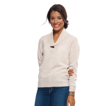Beige Hampton Cashmere Toggle Shawl Sweater