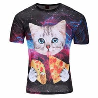 Cat T-Shirt cute cat with blue eyes eating tacos pizza in space galaxy t shirt tshirt