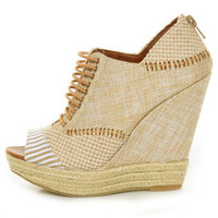 Chinese Laundry Make My Day Natural Linen Patchwork Wedges - $94.00