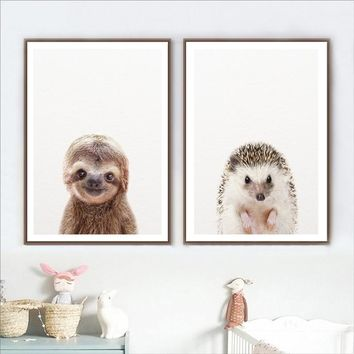 Woodland Animals Art Posters and Prints Sloth Wall Art Canvas Painting Baby Hedgehog Wall Pictures For Study Room Home Decor