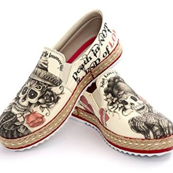 GOBY Women's Shoe 'Beige Sugar Skull Slip-On Espadrille' / Memory Foam HV1561