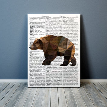 Grizzly bear print Modern art Colorful decor Animal poster TO303
