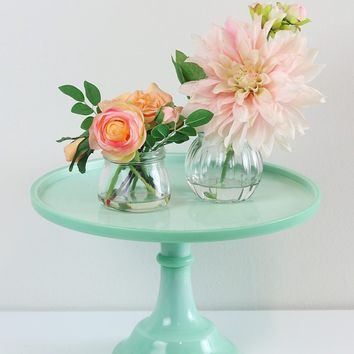 "Jade Green Glass Cake Stand - 12"" Wide"