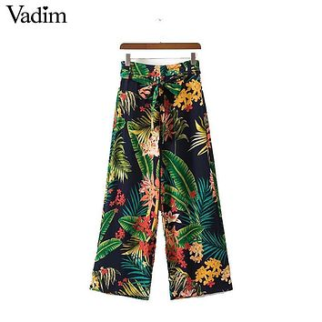 Vadim vintage tropical floral leaf wide leg pants bow tie loose retro pattern pockets casual trousers pantalones mujer KZ955