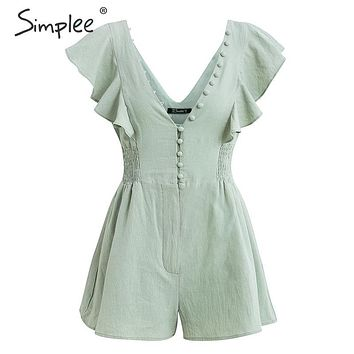 Simplee Elegant v neck ruched linen women romper Summer buttons ruffle cotton short jumpsuit Casual sexy light green overall