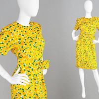 Vintage 80s HARDY AMIES Demi Couture Dress Floral Silk Dress Yellow Summer Dress Wide Belt Wedding Guest Races Dress 1980s Tea Dress British