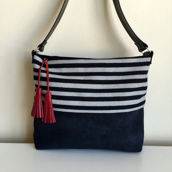 Black and White Canvas Hobo Bag,Waxed Canvas Hobo Bag,Zippered Canvas Bag,Leather Strap Bag,Water Resist Hobo Bag,Black Canvas Bag