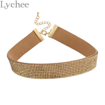 1 piece Gohic Punk Silver Gold Rhinestone Choker Necklace 90s Leather Choker Collar Party Jewelry for Women