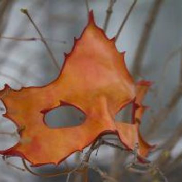 Orange Maple Leaf Handmade Leather Mask by kennosborne on Etsy