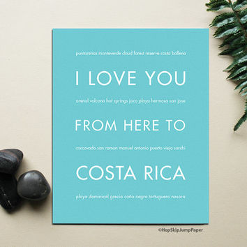 Costa Rica Map, Costa Rica Art, Costa Rica Poster, Travel Gift, Beach Decor, I Love You From Here To COSTA RICA, Shown in Robins Egg Blue