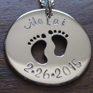 Silver Baby Feet Pendant Necklace with Name and Date