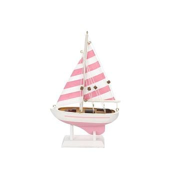 Wooden Pretty in Pink Model Sailboat Christmas Tree Ornament