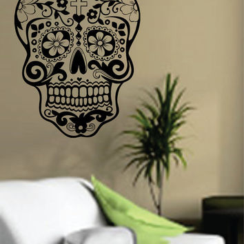 Sugar Skull Wall Vinyl Decal Sticker Art Graphic Sticker Sugarskull Day of the Dead