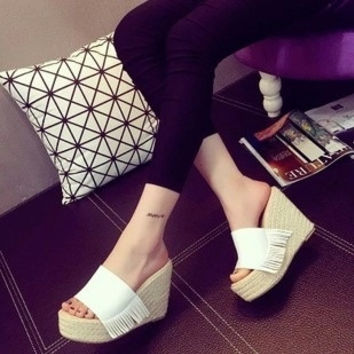 2015 HOT FASHION  Pumps Women Lady Platform New Open-Toe Wedges High Heels Sexy Tassel Hemp Rope Women's Shoes Size 35-39 = 1753797188