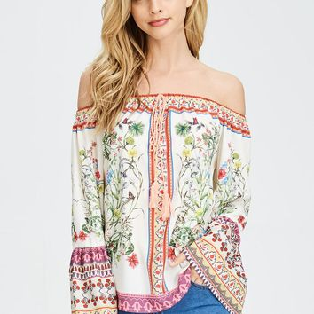 Floral Off-the-Shoulder Bell Sleeve Top in White