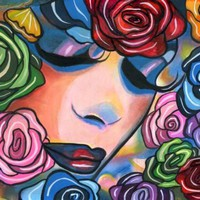 Lady Roses face abstract painting original art colorful flowers by Elizavella