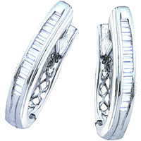 Bagguette Diamond Ladies Fashion Hopps Earrings in 14k White Gold 0.5 ctw