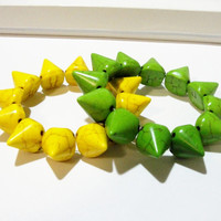 Magnesite Turqoise Spike Cones. Green Or Yellow Elastic Bracelet. Boho Punk. Select Your Color