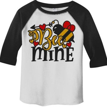 Kids Valentine's Day T Shirt Bee Mine Shirts Cute Bee TShirt Valentines Shirts Arrow Tee Toddler Boy's Girl's 3/4 Sleeve Raglan