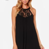 LULUS Exclusive Crepe Draper Black Lace Dress