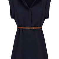 ROMWE Ribbed-cuffs Belted Asymmetric Slim Navy-blue Dress