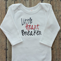 Baby Boys or Girls Valentines Day Bodysuit - Little Heart Breaker - Red and Black Boutique Baby Clothing - Wholesale - Baby Shower Gifts