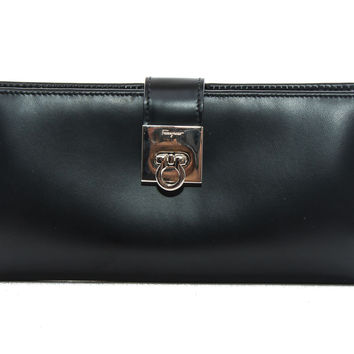 Authentic Salvatore Ferragamo Black leather bi-fold long wallet