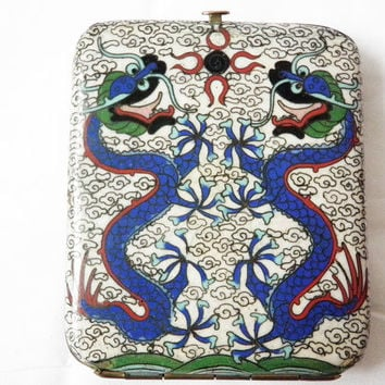 Antique Cloisonne Dragon and Serpents Cigarette Case Holder  in Brass