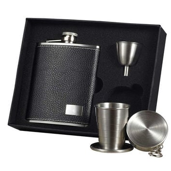 Visol Eclipse S Leather Stellar Hip Flask Gift Set - 6 oz