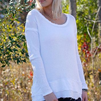 Waffle Trim Long sleeve top - White