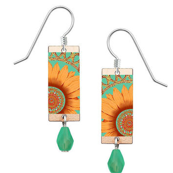 Lemon Tree Colorful Orange Sunflower Earrings with Sterling Silver Ear Wires