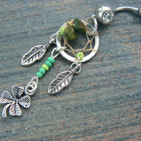 Luck ot the Irish dreamcatcher belly ring St.Pattys day saint patricks day four leaf clover lucky green in tribal fantasy and hipster style