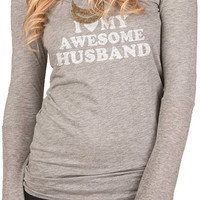 Wife Gift I Love My Awesome Husband Rib-Sleeve Scoopneck T-Shirt Womens Tshirt Wedding Gift Valentine's Gift Long Sleeve Shirt