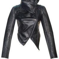CrabRocks Women Leather Asymmetrical Soft Leather Jacket with High Neck Collars and Multi Quilted Sleeve