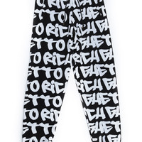 GHETTO GRAFFITI SWEAT PANTS / BLACK