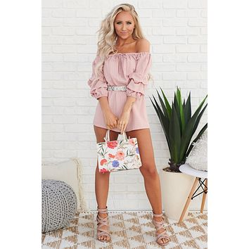 Bethanie Off The Shoulder Romper (Mauve)