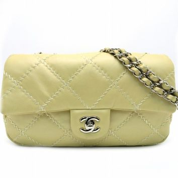 Chanel Quilted Lambskin Leather Chain Shoulder Bag Champagne 0645