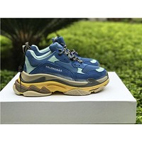 Navy Blue Balenciaga Triple S DSM Casual Shoes Clunky Sneakers