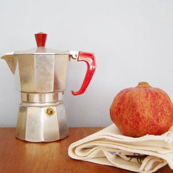 Vintage Italian espresso coffee maker, eighties stove top espresso coffee maker, rare red handle