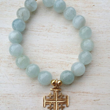 Aquamarine Gemstone Stretch Bracelet, 14K Jerusalem Cross, 14k Yellow Gold, Spiritual Religious Bracelet