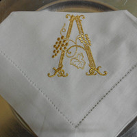 Monogrammed Napkins LinenLike Hemstitched 20x20 by MONOGRAMSINC