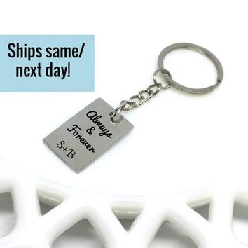 Always and Forever, Couple Name Keychain, Couple Keychain, Initial Keychain, Engraved Keychain, Custom Keychain, Customized Keychain