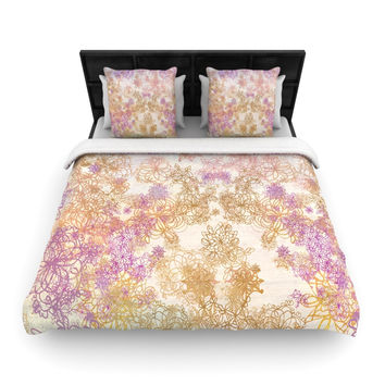 "Marianna Tankelevich ""Retro Summer"" Yellow Pink Woven Duvet Cover"