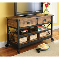 "Walmart.com: Better Homes and Gardens Rustic Country Antiqued Black/Pine Panel TV Stand for TVs up to 52"": Furniture"